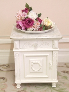 shabby rose nightstand with marble top